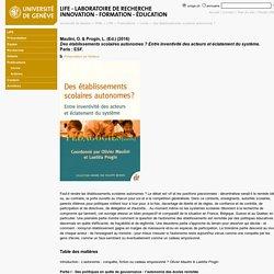 Des établissements scolaires autonomes ? - Laboratoire de recherche Innovation-Formation-Éducation - UNIGE