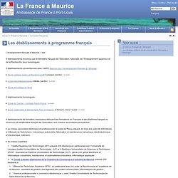 Les établissements à programme français - La France à Maurice