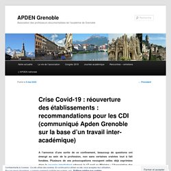Crise Covid-19 : réouverture des établissements : recommandations pour les CDI (communiqué Apden Grenoble sur la base d'un travail inter-académique)