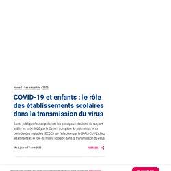 COVID-19 et enfants : le rôle des établissements scolaires dans la transmission du virus