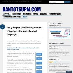 les 5 étapes de développement d'équipe et le rôle du chef de projet