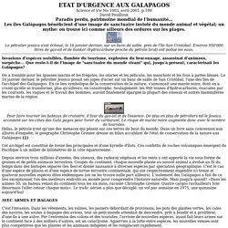 ETAT D'URGENCE AUX GALAPAGOS