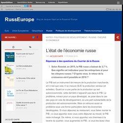L'état de l'économie russe – RussEurope