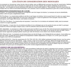 LES TATS DE CONSERVATION DES MONNAIES