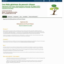Les états généraux du pouvoir citoyen Paris