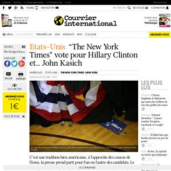 "Etats-Unis. ""The New York Times"" vote pour Hillary Clinton et… John Kasich"