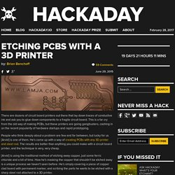 Etching PCBs With A 3D Printer