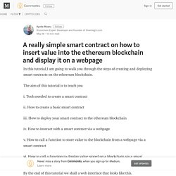 how to insert value into the ethereum blockchain and display it on a webpage