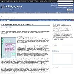 TICE : Etherpad, Twitter, études et informations