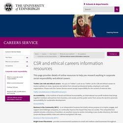 CSR and ethical careers information resources