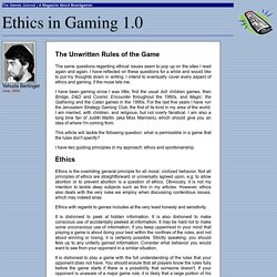 Ethics in Gaming 1.0