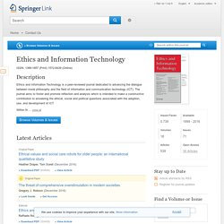 Ethics and Information Technology - All Volumes & Issues - Springer