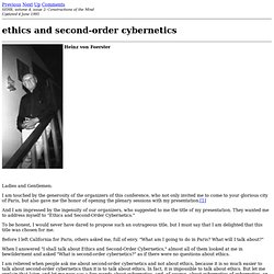 ethics and second-order cybernetics