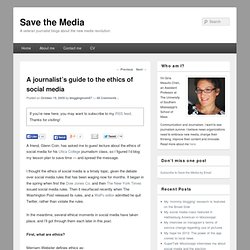 Ethics of social media for journalists | Save the Media
