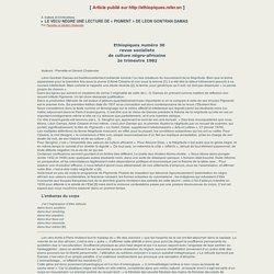 LE VECU NEGRE UNE LECTURE DE «PIGMENT» DE LEON GONTRAN DAMAS - Ethiopiques - Revue negro-africaine de littérature et de philosophie.