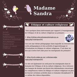 Ethique et culture religieuse - Madame Sandra