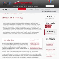 Ethique et marketing