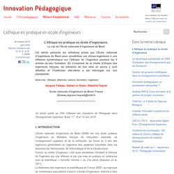 L'éthique en pratique en école d'ingénieurs
