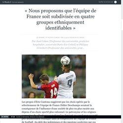 «Nous proposons que l'équipe de France soit subdivisée en quatre groupes ethniquement identifiables»