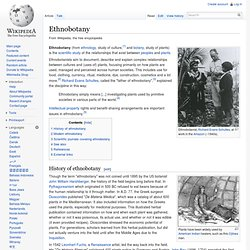 Ethnobotany - Wikipedia, the free encyclopedia - Flock