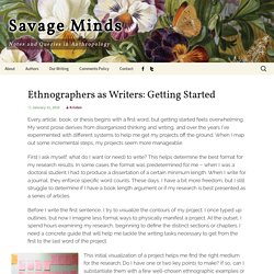Ethnographers as Writers: Getting Started