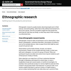 Ethnographic research — Government Service Design Manual