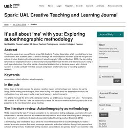 It's all about 'me', with you: Exploring auto-ethnographic methodology