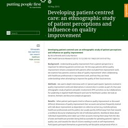 Developing patient-centred care: an ethnographic study of patient perceptions and influence on quality improvement - Putting people first