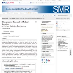Ethnographic Research in Medical Sociology