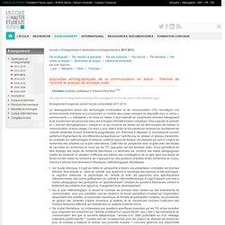 Enseignement 2011-2012 — Approches ethnographiques de la communication en action : théories de l'activité et analyse de données vidéo