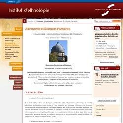 Astronomie et Sciences Humaines-Université de Strasbourg