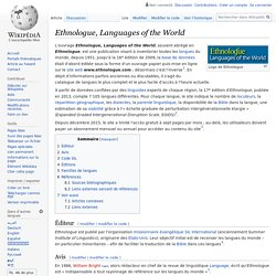 Ethnologue, Languages of the World
