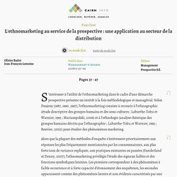 L'ethnomarketing au service de la prospective : une application au secteur de la distribution