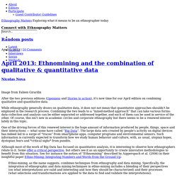 April 2013: Ethnomining and the combination of qualitative & quantitative data