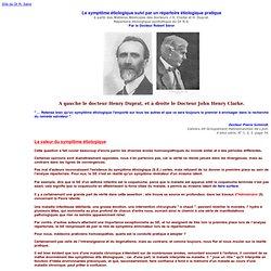 Le symptôme étiologique suivi par un répertoire étiologique pratique - Docteur Robert Séror