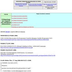 L'étiquetage par rapport aux allergènes alimentaires - Archive du forum HYGIENE