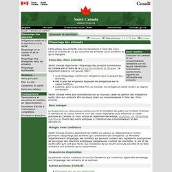 SANTE CANADA - Etiquetage des aliments