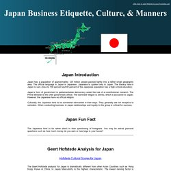 Japan - Japanese Business Etiquette, Vital Manners, Cross Cultural Communication, and Japan's Geert Hofstede analysis