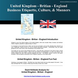 United Kingdom, British, English Etiquette, Mannners, and Hofstede Cultural Dimensions for England, Great Britain