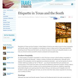 Etiquette in Texas and the South - Travel Etiquette (UK)
