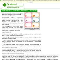 Étiquettes de confiture gratuites à imprimer - Parchance.fr