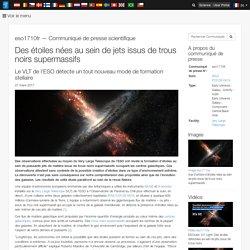 Des étoiles nées au sein de jets issus de trous noirs supermassifs