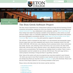 Eton College - The Eton Greek Project