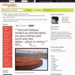 Recette de ** Etonnant Gâteau/ fondant au chocolat épicé , aux pois chiches juste sucré avec des dattes....plaisir & nutrition **