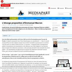 L'étrange proposition d'Emmanuel Macron