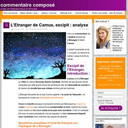L'Etranger, Camus, excipit : analyse