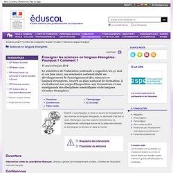 Sciences en langues étrangères - Séminaire Enseigner les sciences en langues étrangères
