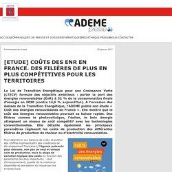 [Etude] Coûts des EnR en France. Edition 2016.