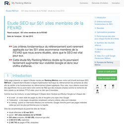 Etude SEO de 501 sites membres de la FEVAD mai 2015