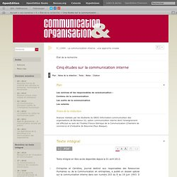 Cinq études sur la communication interne